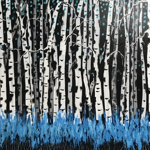(CreativeWork) Birch Thicket by Tom Roso. arcylic-painting. Shop online at Bluethumb.