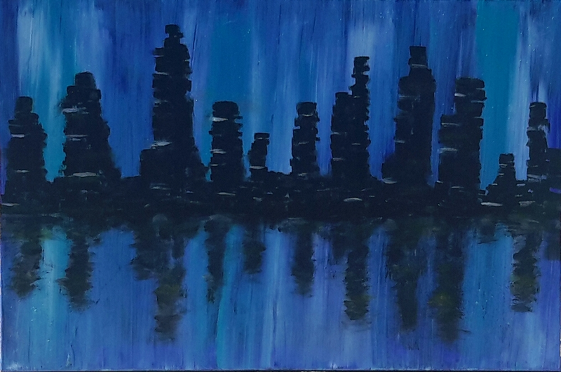 (CreativeWork) City on the Water Front by DRM Vance. arcylic-painting. Shop online at Bluethumb.