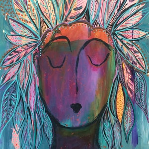 (CreativeWork) Bohemian Lady by Bec Schopen. arcylic-painting. Shop online at Bluethumb.