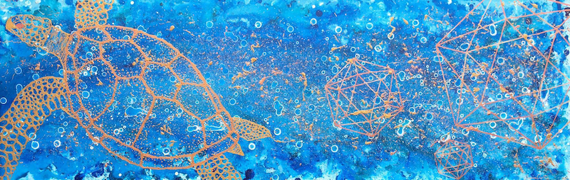 (CreativeWork) Sea of Crystal by Jessica Curtis. mixed-media. Shop online at Bluethumb.