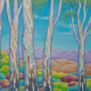 (CreativeWork) POLYCHROME EUCALYPTI 7 by Saadah Kent. acrylic-painting. Shop online at Bluethumb.