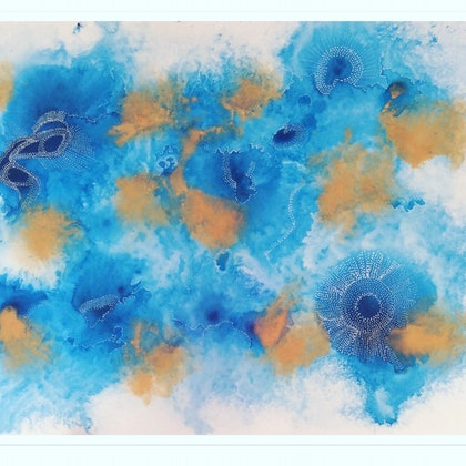 (CreativeWork) Blue Summer Light by Paddy Colahan. arcylic-painting. Shop online at Bluethumb.