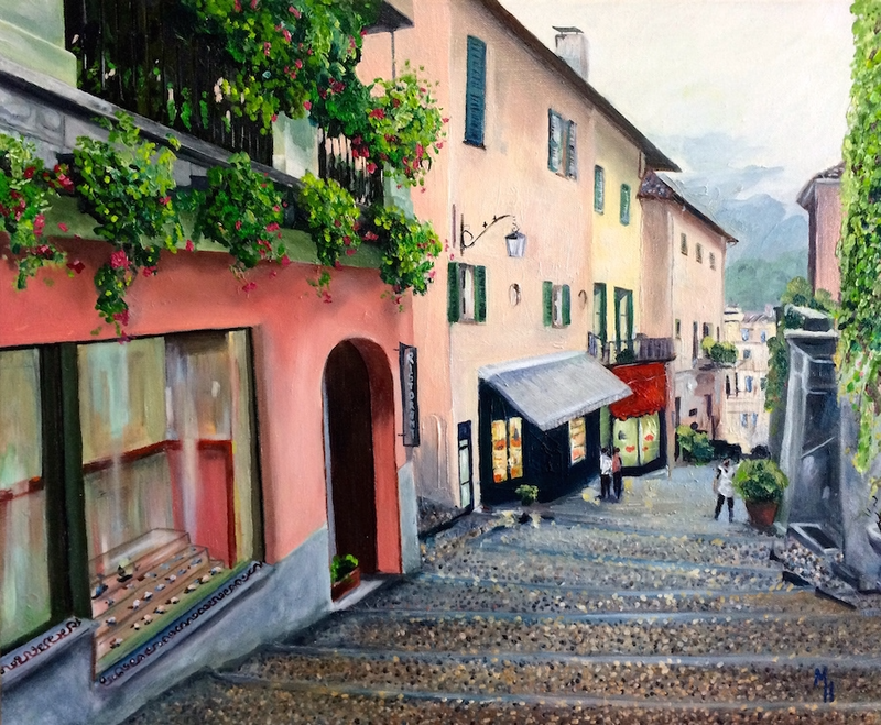 (CreativeWork) Bellagio by Meredith Howse. oil-painting. Shop online at Bluethumb.
