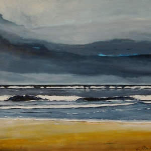(CreativeWork) The Dark Beach by Colin Rowe. oil-painting. Shop online at Bluethumb.