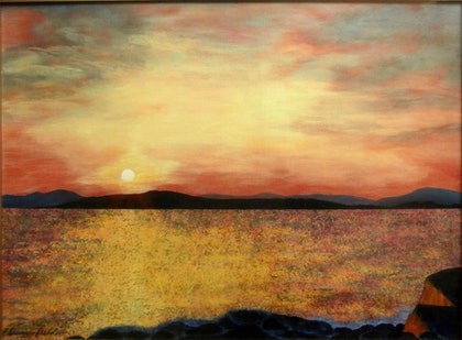 (CreativeWork) SUNLIT SEA - SUNSET by Lisa Dangerfield. arcylic-painting. Shop online at Bluethumb.