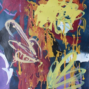 (CreativeWork) Fireworks by Dianne Casotti. arcylic-painting. Shop online at Bluethumb.