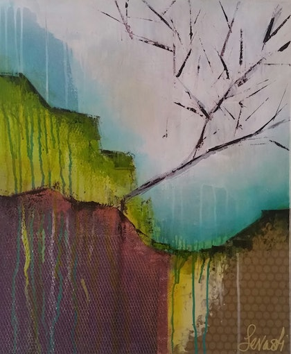 (CreativeWork) One Tree Hill by Sevasti Vissaritis. mixed-media. Shop online at Bluethumb.