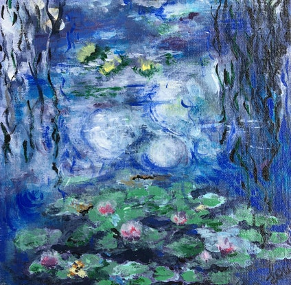(CreativeWork) MONET - WATER LILIES MINI by April Lockwood. Acrylic Paint. Shop online at Bluethumb.