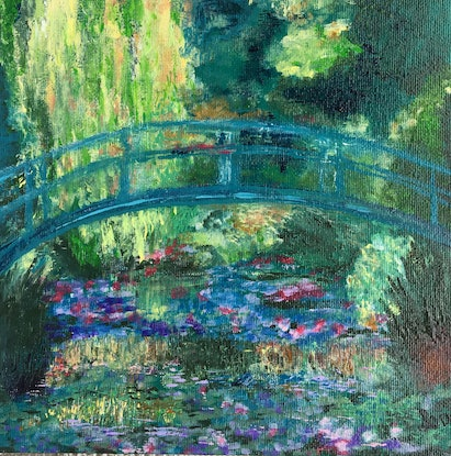 (CreativeWork) MONET BRIDGE MINI by April Lockwood. Acrylic Paint. Shop online at Bluethumb.