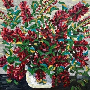 (CreativeWork) Bottlebrush Bunch  by Elisabeth Howlett. oil-painting. Shop online at Bluethumb.