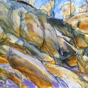 (CreativeWork) Upper Turon River by Trevor Purvis. mixed-media. Shop online at Bluethumb.