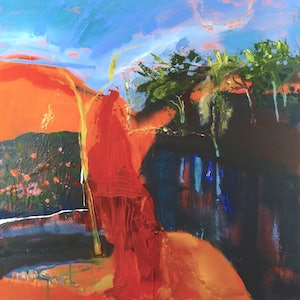 (CreativeWork) Cacoory waterhole - dusk by Trevor Purvis. mixed-media. Shop online at Bluethumb.