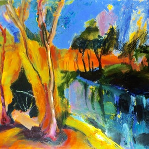 (CreativeWork) Cacoory waterhole - midday by Trevor Purvis. arcylic-painting. Shop online at Bluethumb.