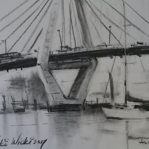 (CreativeWork) ANCHORED AT ANZAC BRIDGE SYDNEY by Anki Wickison. drawing. Shop online at Bluethumb.