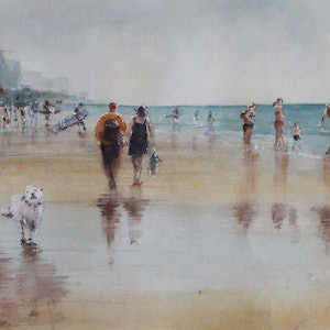 (CreativeWork) Friends at Gold Coast by Kanag Janakan. watercolour. Shop online at Bluethumb.