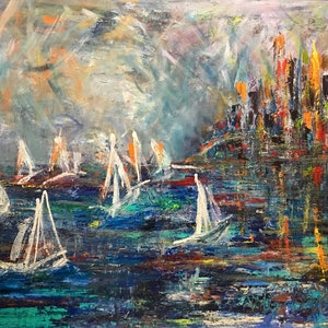 (CreativeWork) Sailing to the sunlit city by Didi La Baÿsse. arcylic-painting. Shop online at Bluethumb.