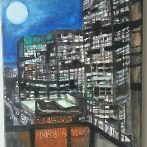 (CreativeWork) Melbourne City Night Light Effects by NavaneethaKrishnan (NK) Sundarrajan. arcylic-painting. Shop online at Bluethumb.