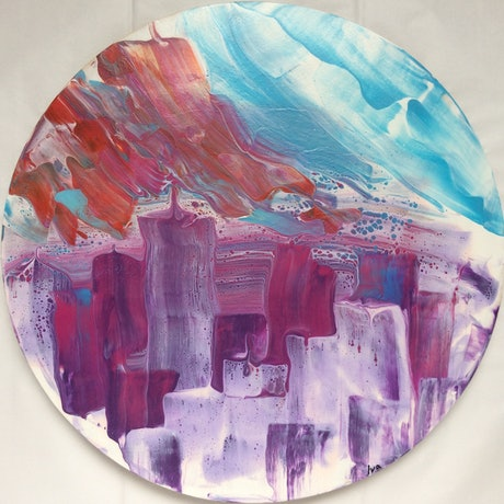 (CreativeWork) Sunset in the city by Iva Hancevic-Grabic. Acrylic Paint. Shop online at Bluethumb.