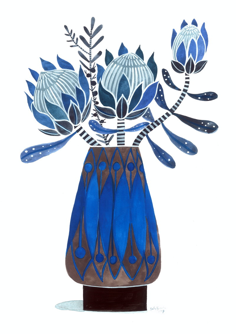 (CreativeWork) Blue Proteas in Cobalt Blue and Brown Danish Vase by Sally Browne. #<Filter:0x00007fc1d8782548>. Shop online at Bluethumb.