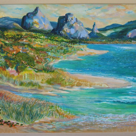 (CreativeWork) Glasshouse Mountains from Pumicestone Passage by Anna Casey. Acrylic Paint. Shop online at Bluethumb.