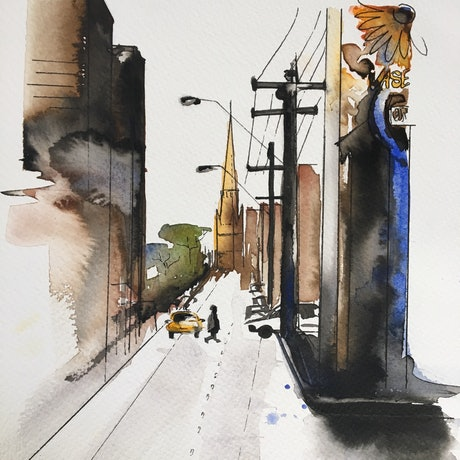 (CreativeWork) Walking down Brunswick street  by Bec Grant. Watercolour Paint. Shop online at Bluethumb.