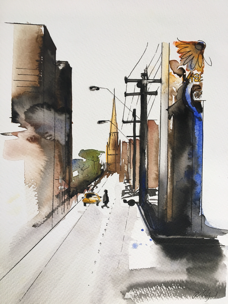 (CreativeWork) Walking down Brunswick street  by Bec Grant. watercolour. Shop online at Bluethumb.