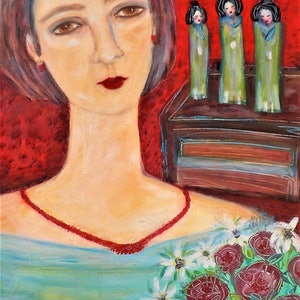 """(CreativeWork) """" Lady with  japanese dolls"""" by Catherine Walker. acrylic-painting. Shop online at Bluethumb."""