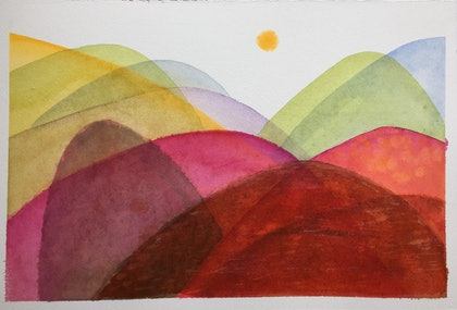 (CreativeWork) Forever Land (Pink and Green Hills) by Greta Laundy. watercolour. Shop online at Bluethumb.