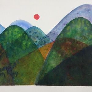 (CreativeWork) Forever Land (Two Green Hills) by Greta Laundy. watercolour. Shop online at Bluethumb.