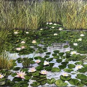 (CreativeWork) Beauty Marsh  by atefeh hekmat. oil-painting. Shop online at Bluethumb.