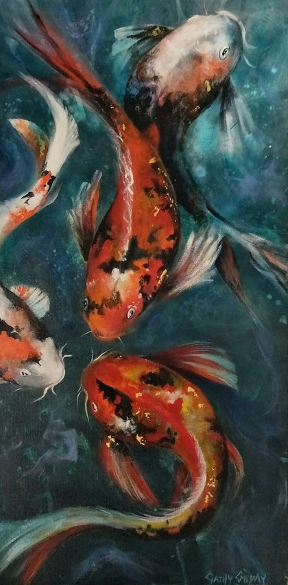 (CreativeWork) Deep in Conversation  by Cathy Gilday. arcylic-painting. Shop online at Bluethumb.