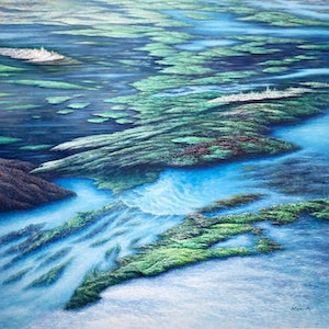 (CreativeWork) New Zealand Blue Springs by Alex Mo. oil-painting. Shop online at Bluethumb.