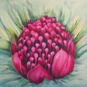 (CreativeWork) Waratah by Helena Cornelius. mixed-media. Shop online at Bluethumb.