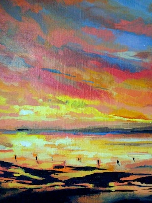 (CreativeWork) By The Water by Amanda Hunt. Acrylic Paint. Shop online at Bluethumb.