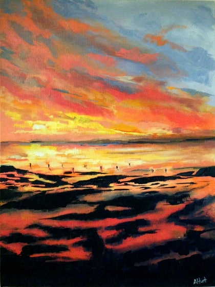 (CreativeWork) By The Water by Amanda Hunt. arcylic-painting. Shop online at Bluethumb.