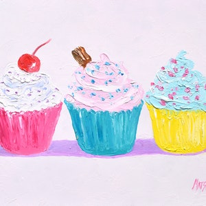 (CreativeWork) Three Frosted Cupcakes by Jan Matson. oil-painting. Shop online at Bluethumb.