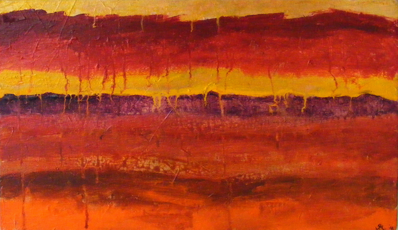 (CreativeWork) Blood Red Sky by ALAN NEWBERY. arcylic-painting. Shop online at Bluethumb.