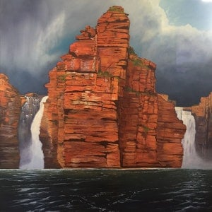 (CreativeWork) Storm brewing on King George Falls by Christophe Borrel Ducroz. oil-painting. Shop online at Bluethumb.