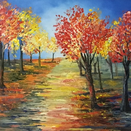 (CreativeWork) Autumn Visit by Kelly Baker. Oil Paint. Shop online at Bluethumb.