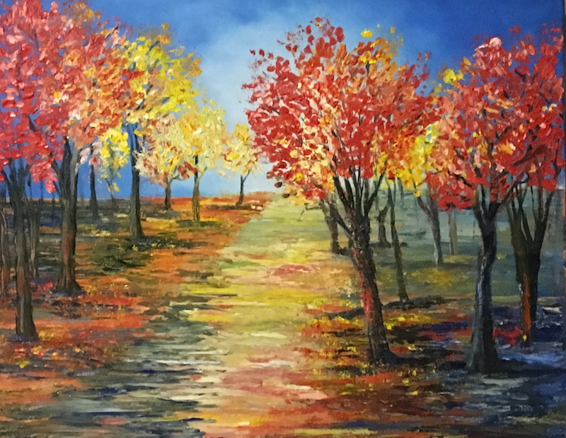 (CreativeWork) Autumn Visit by Kelly Baker. oil-painting. Shop online at Bluethumb.