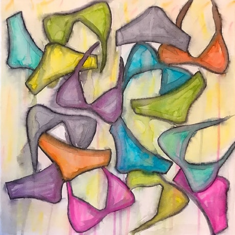 (CreativeWork) Bikinis 1 by Carol Zsolt. Watercolour Paint. Shop online at Bluethumb.