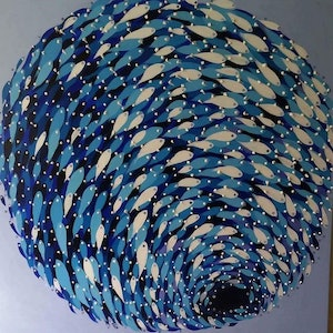 (CreativeWork) School of fishes (Gravity) by kojo frimpong. arcylic-painting. Shop online at Bluethumb.