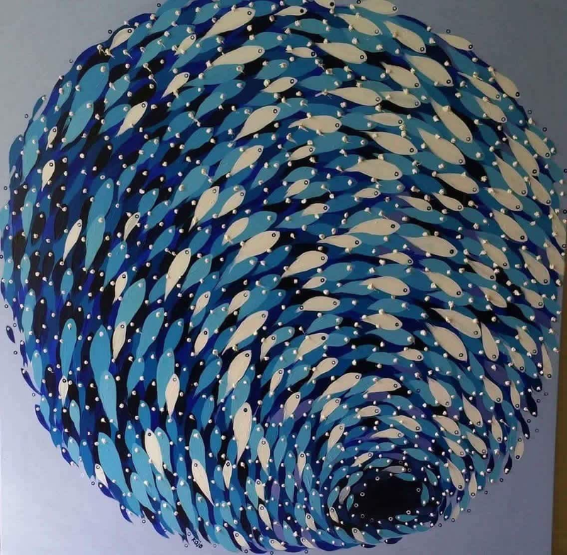 (CreativeWork) School of fishes (Gravity) by kojo frimpong. Acrylic Paint. Shop online at Bluethumb.