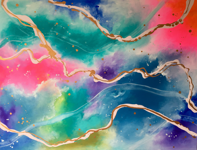 (CreativeWork) FRUITOPIA SKIES by April Lockwood. arcylic-painting. Shop online at Bluethumb.