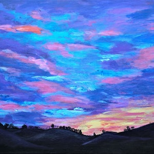 (CreativeWork) SUNRISE TRANQUILITY by Elena Dickman. acrylic-painting. Shop online at Bluethumb.