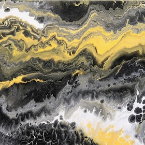 """(CreativeWork) ORIGINAL ABSTRACT ART PAINTING ON STRETCHED CANVAS  """"BEES KNEES""""  YELLOW BLACK GREY WHITE by Debra Ryan. mixed-media. Shop online at Bluethumb."""