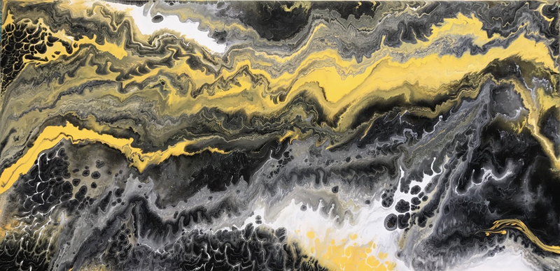 """ORIGINAL ABSTRACT ART PAINTING ON STRETCHED CANVAS """"BEES ... Yellow Black Abstract Paintings"""