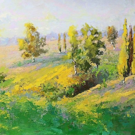 (CreativeWork) Old South Road Mittagong NSW by Mirjana Psakis. Oil Paint. Shop online at Bluethumb.