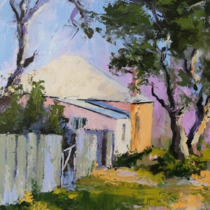 (CreativeWork) Mittagong, cnr Victoria and Edward Street by Mirjana Psakis. oil-painting. Shop online at Bluethumb.