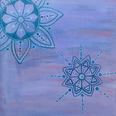 (CreativeWork) Petals and Snow Flakes by Natasha McGhie. Acrylic Paint. Shop online at Bluethumb.